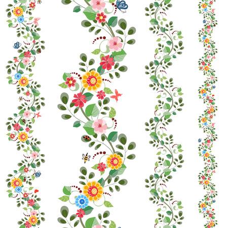 bloemen naadloze randen voor uw ontwerp instellen