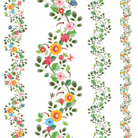 Floral set nahtlose Grenzen für Ihr Design Standard-Bild - 32704210