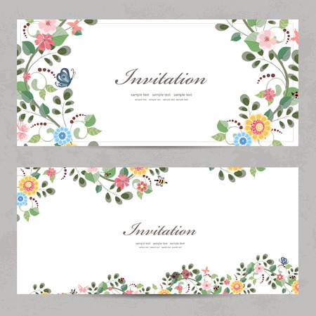 あなたのデザインのかわいい花の招待カード  イラスト・ベクター素材