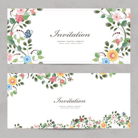 schattig bloemen uitnodiging kaarten voor uw ontwerp Stock Illustratie
