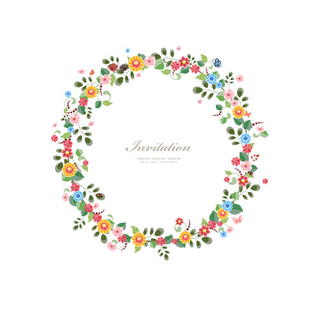 bee on white flower: invitation card with floral wreath for your design