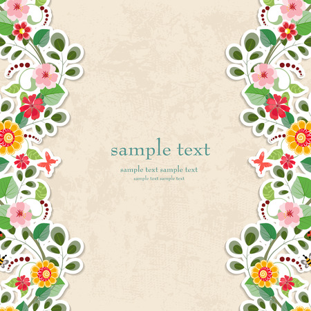 cute border: invitation card with cute flowers for your design