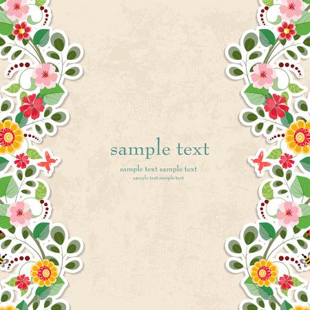bordes decorativos: tarjeta de invitaci�n con flores lindos para su dise�o