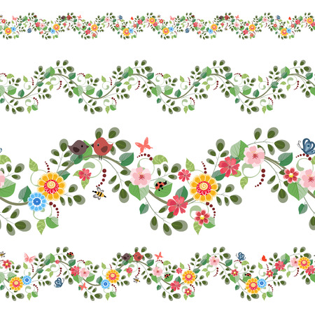 horizontal: floral set seamless borders for your design