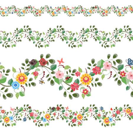 cenefas flores: set fronteras inconsútiles florales para su diseño