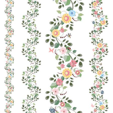 bloemen set naadloze grenzen voor uw ontwerp Stock Illustratie