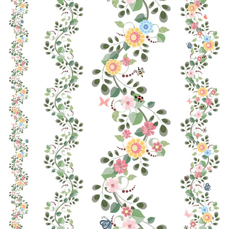 butterfly border: floral set seamless borders for your design