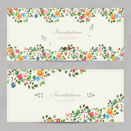 cute floral invitation cards for your design  イラスト・ベクター素材