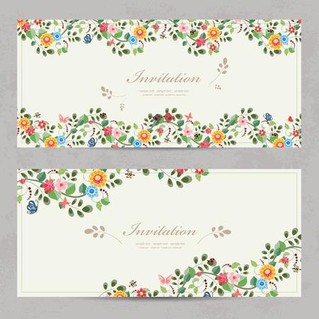 Fleures: cartes d'invitation floral mignon pour votre conception
