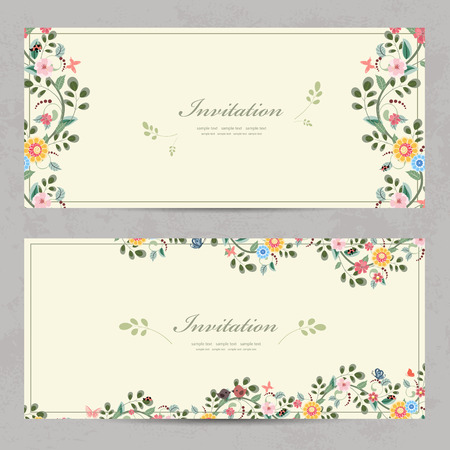 cute floral invitation cards for your design Vettoriali