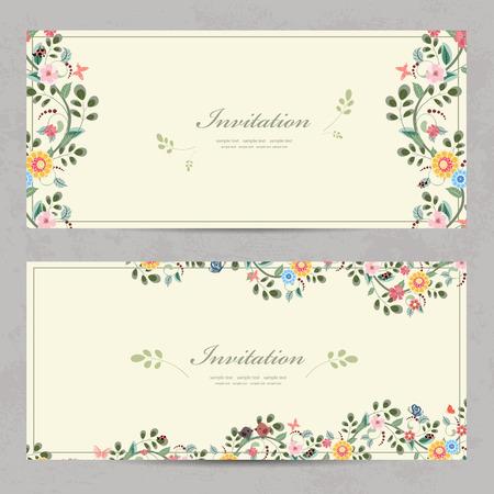 Niedlichen Blumen Einladungskarten für Ihr Design Standard-Bild - 32704256