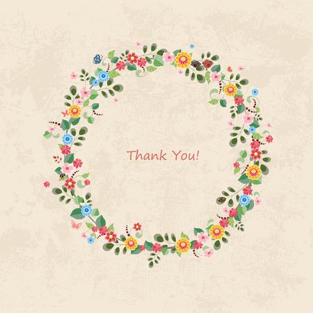 Einladungskarte mit Blumenkranz für Ihr Design Standard-Bild - 32704257