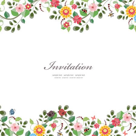 Carta di invito con fiori carino per la progettazione Archivio Fotografico - 32704258