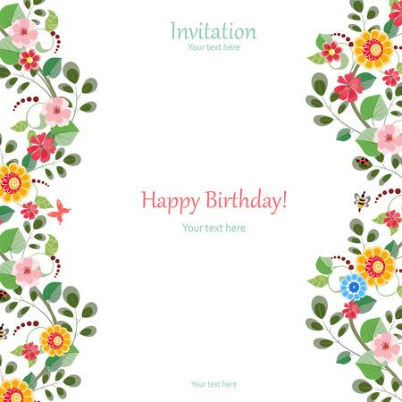 Einladungskarte mit niedlichen Blumen für Ihr Design Standard-Bild - 32704259