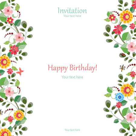 butterfly border: invitation card with cute flowers for your design