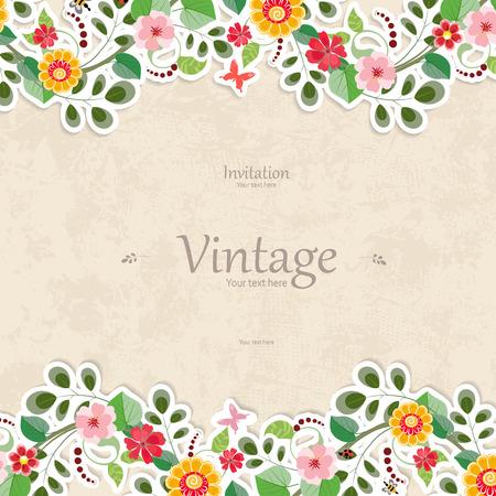uitnodigingskaart met leuke bloemen voor uw ontwerp Stock Illustratie