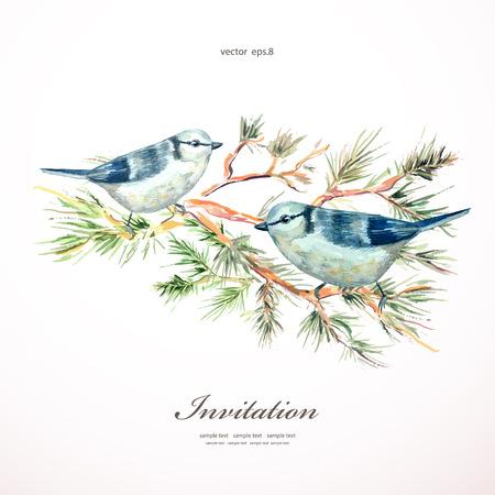 Aquarellmalerei Wildvogel in der Natur Illustration. Einladungskarte Standard-Bild - 33665025