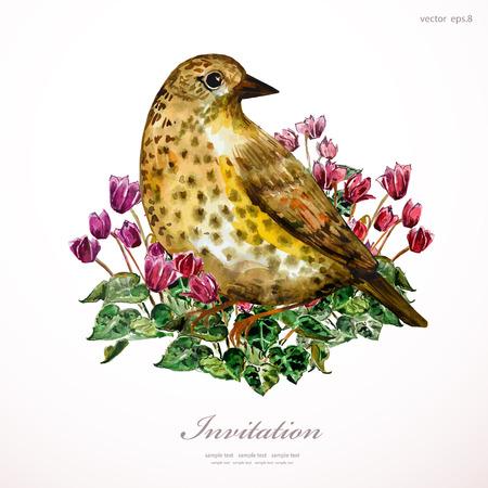 cyclamen: watercolor painting cute bird on flowers illustration. invitation card Illustration