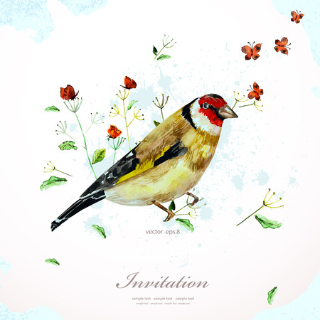 watercolor painting cute bird with flowers illustration. template for your design Vector