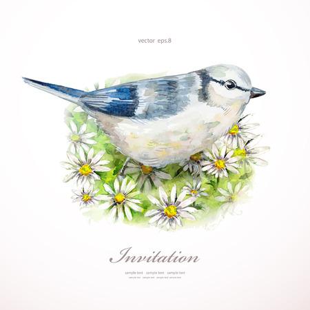 watercolor painting cute bird on flowers illustration. invitation card Vettoriali