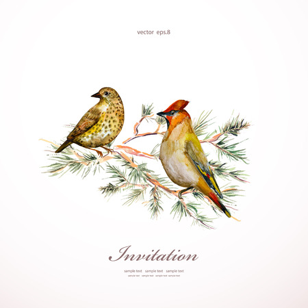 watercolor painting wild bird at nature. illustration. invitation card Ilustração