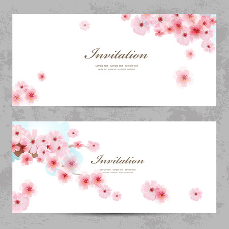 sakura flowers: invitation cards with a blossom sakura for your design