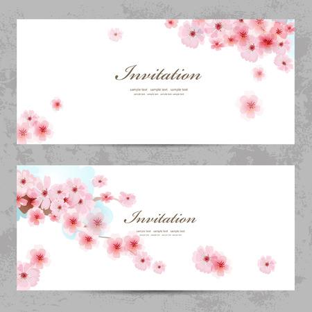 flor de sakura: tarjetas de invitación con una flor de sakura para su diseño Vectores