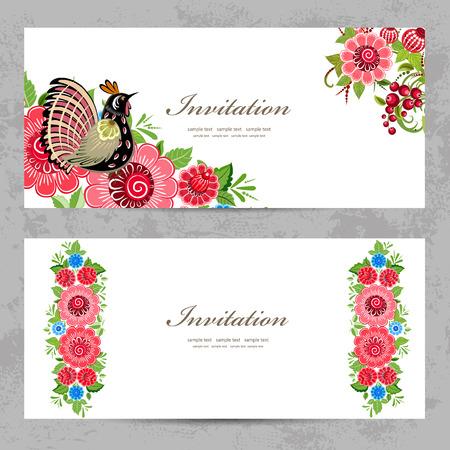 Cartes d'invitation avec la peinture de Khokhloma pour votre conception Banque d'images - 33665364