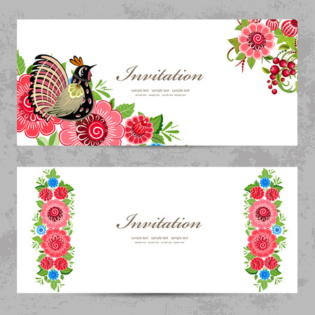 uitnodigingskaarten met Khokhloma schilderij voor uw ontwerp
