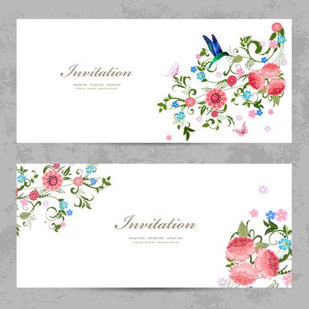 Einladungskarten mit schönen Blumen für Ihr Design Standard-Bild - 33665656