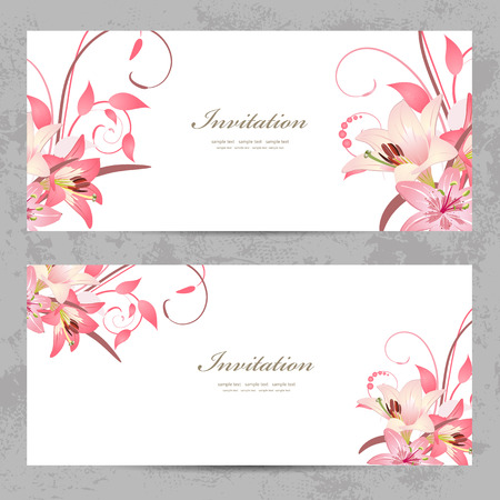 invitation cards with a pink lily for your design Vettoriali