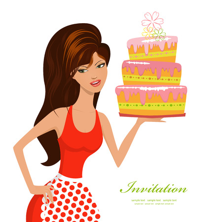 confectioner: beautiful woman with birthday cake for your design