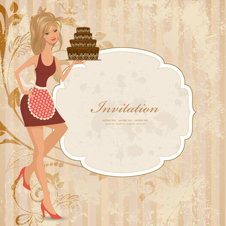 wedding cake illustration: beautiful young woman with chocolate cake