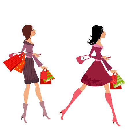 woman credit card: fashion girls with purchase for your design