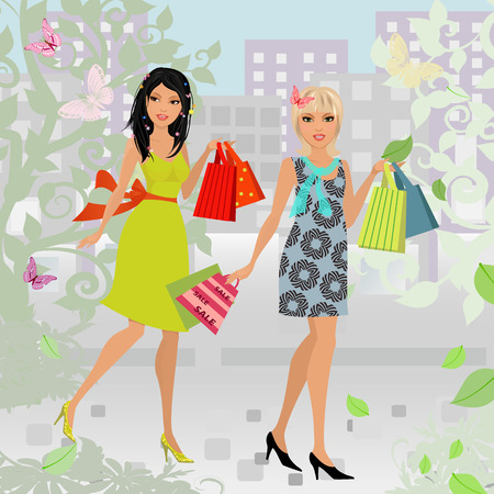 glamour shopping: fashion young women with purchase in city for your design