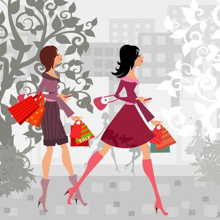 mode meisjes met een aankoop in de stad voor uw ontwerp