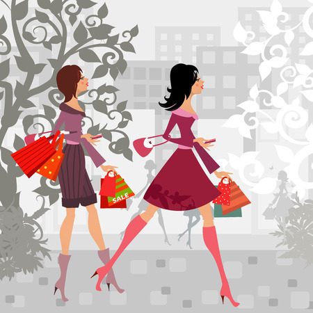fashion girls with purchase in city for your design Illustration