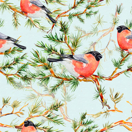 seamless texture with pine branch and bird watercolor photo