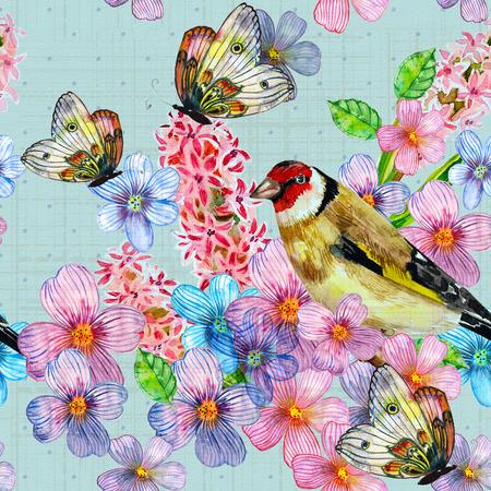 vintage seamless texture with cute birds watercolor Banco de Imagens