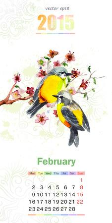 calendar for 2015. february Vector