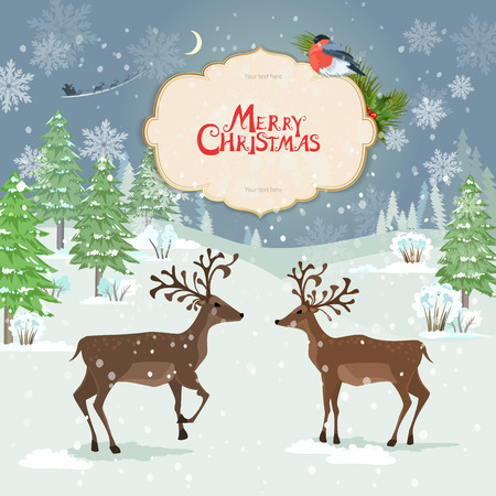 winter forest: christmas card with deers in winter forest