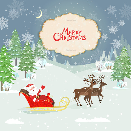 christmas card with santa claus in winter forest
