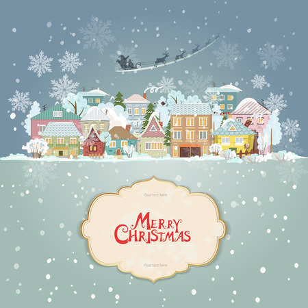 papa noel en trineo: paisaje urbano de la Navidad con la etiqueta de la vendimia para su diseño