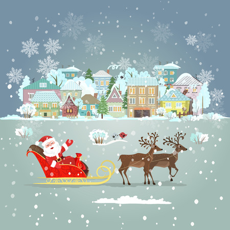 Einladungskarte mit Weihnachtsmann im Schlitten für Ihr Design Standard-Bild - 34906865