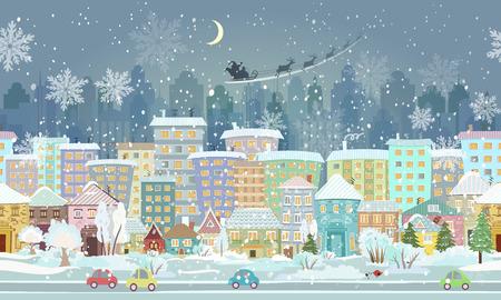 panorama. la frontera sin problemas con un paisaje urbano de invierno Ilustración de vector