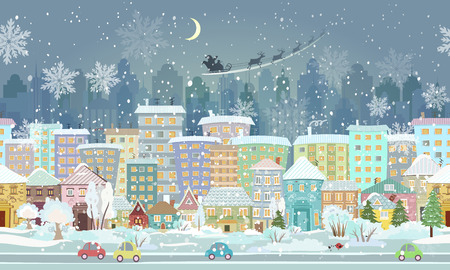 panorama. seamless border with a winter cityscape Illustration