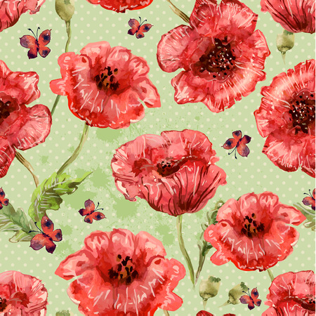 seamless texture with watercolor painting of poppies and butterfly