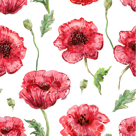 seamless texture with watercolor painting of poppies Ilustração