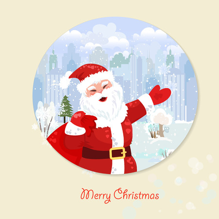 show window: Invitation card with Santa Claus  for your design