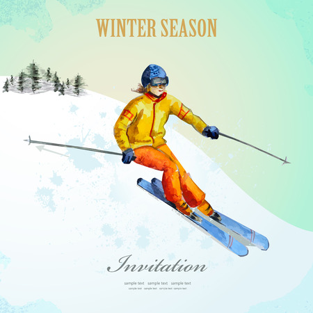 downhill skiing: Winter sport. fashion girl skier. watercolor. vintage poster for your design.